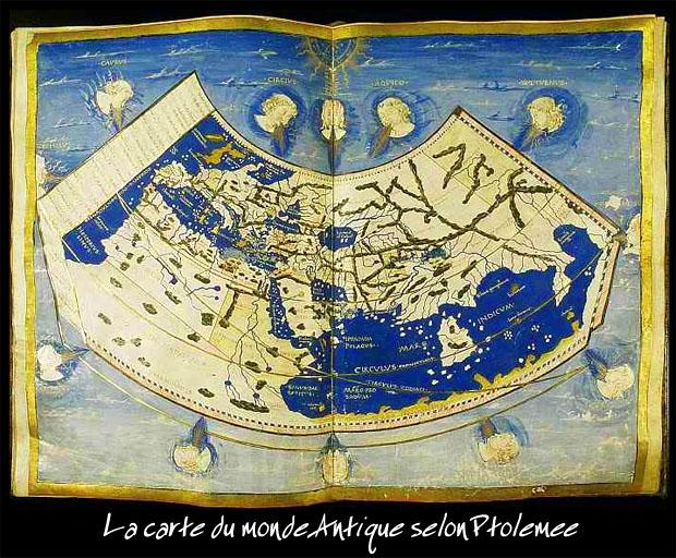 Le Monde du temps de Ptolémée. On ne voit guère plus loin aujourd'hui.